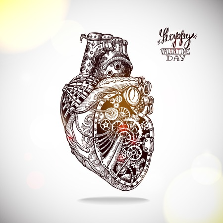 machine parts: Hand drawn illustration of mechanical heart