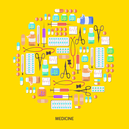 medical themed icons Illustration