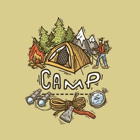camp illustration Vector