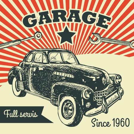 label retro: coche retro