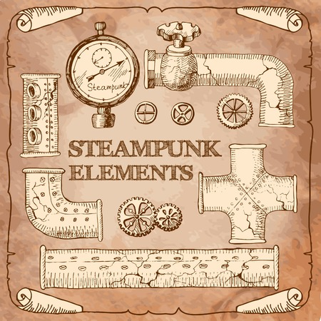 steam iron: steampunk Illustration