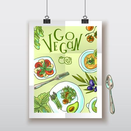 bovenaanzicht plant: vegetarisch voedsel illustratie Stock Illustratie