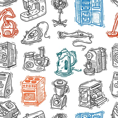 iron fan: seamless pattern home appliances