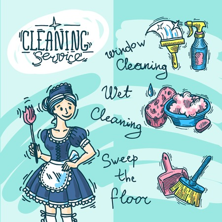 washing windows: cleaning service Illustration