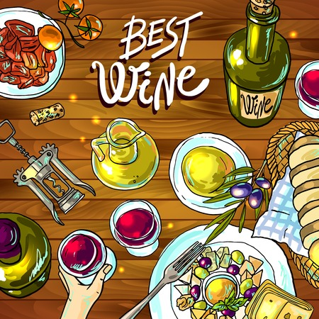 wine and cheese Illustration