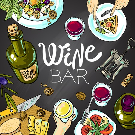 Wein und Käse Illustration