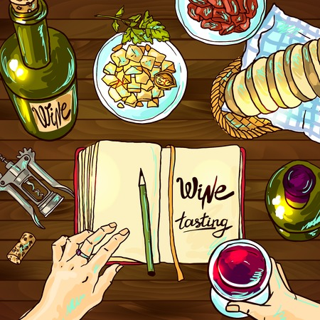 french wine: wine and cheese Illustration