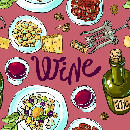 wine and cheese Ilustracja