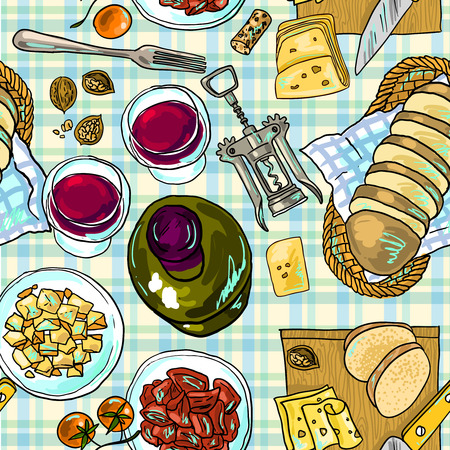 wine and cheese Vettoriali