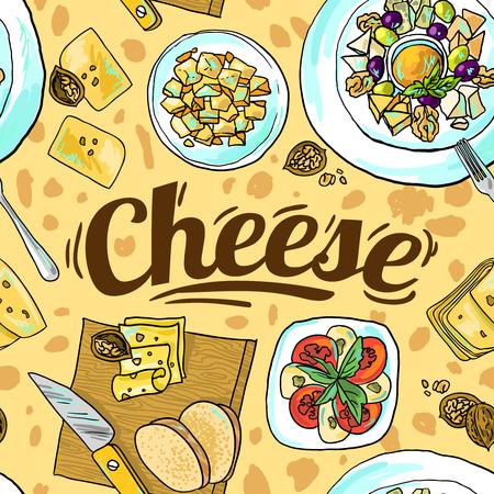 edam: cheese seamless pattern