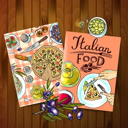 comida italiana Vectores