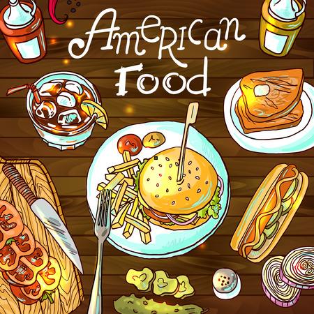 comida americana: comida americana Vectores