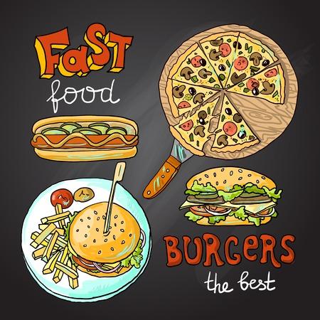 negocios comida: comida rápida Vectores