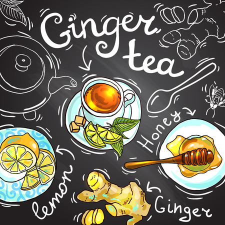 ginger tea 向量圖像