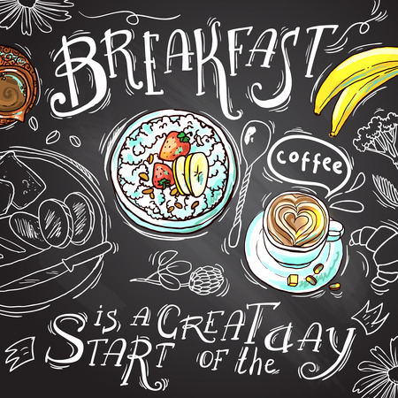 chalk drawing: breakfast Illustration