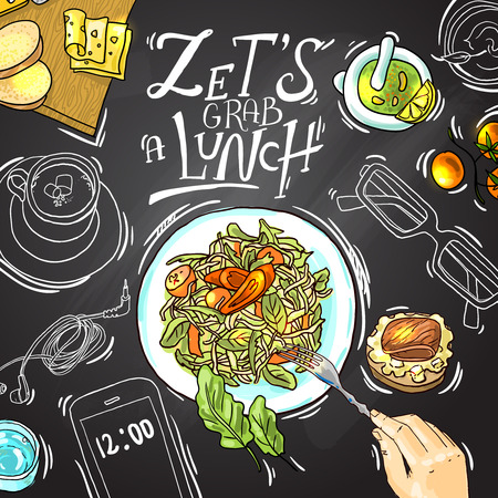food illustrations: business lunch