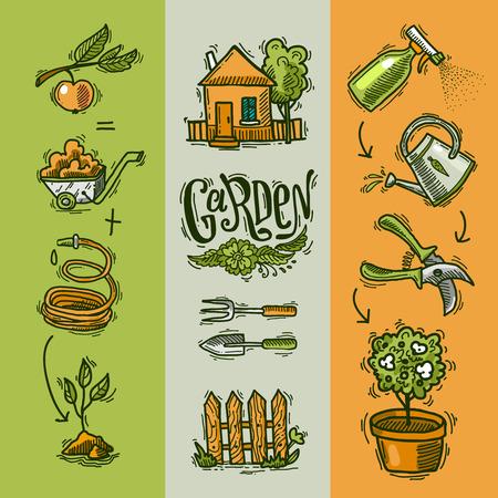 doodle pictogrammen tuin Stock Illustratie