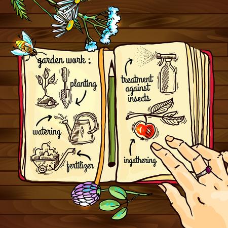 iconos del doodle del jard�n Vectores