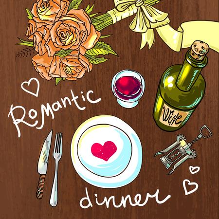 diner romantique: dîner romantique Illustration