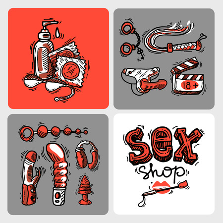 man and woman sex: sex shop Illustration