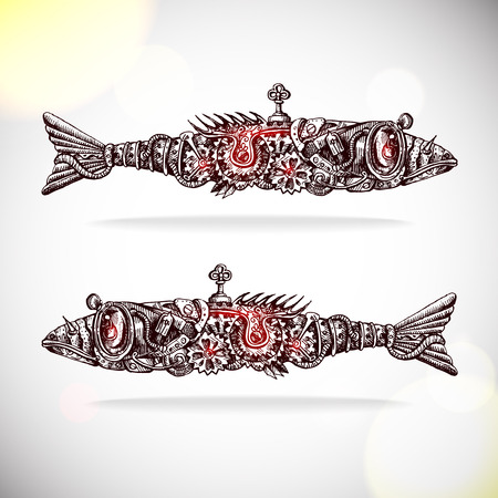 steampunk: mechanical fishs