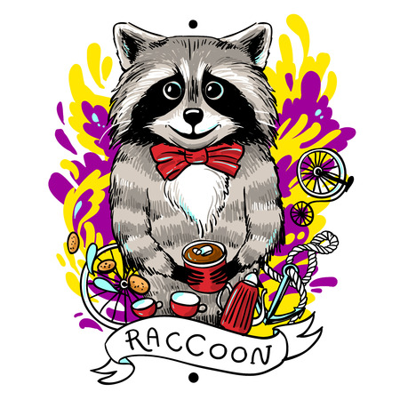 raccoon drinks tea