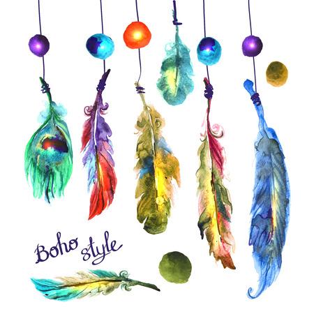 indio americano: ilustración acuarela plumas Vectores