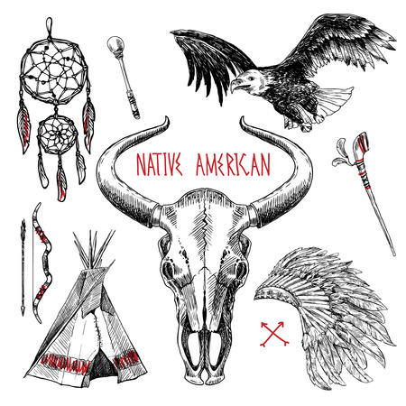 american history: native american Illustration