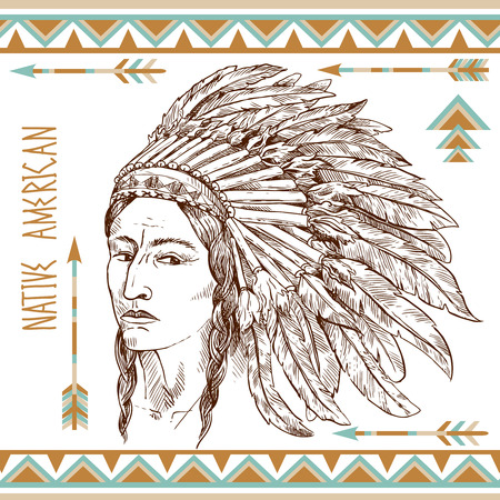 american native: native american man Illustration