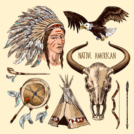 man head: native american Illustration