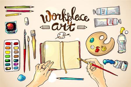 Beautiful hand drawn vector illustration workplace art