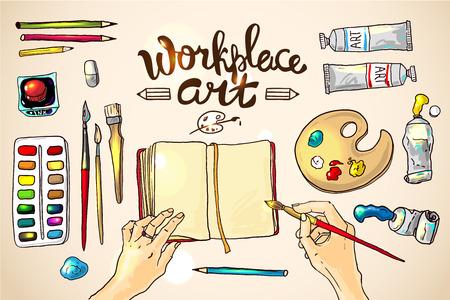 Beautiful hand drawn vector illustration workplace art
