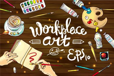 Mano hermosa ilustraci�n vectorial arte dibujado el lugar de trabajo Vectores