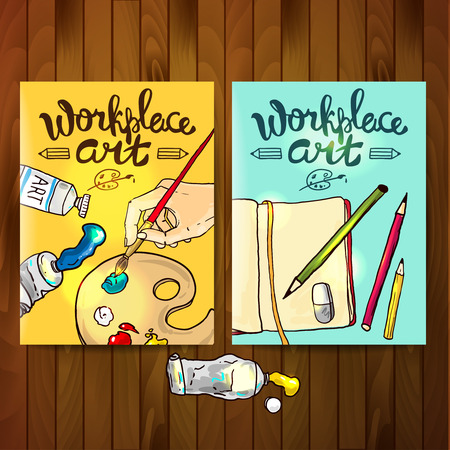 flayers: Beautiful hand drawn vector flayers workplace art