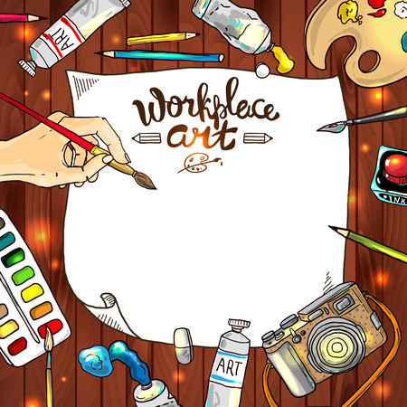 Beautiful hand drawn vector frame workplace art