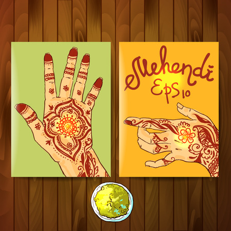 hasta: Beautiful hand drawn illustration mehendi on womens hands
