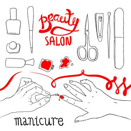 Beautiful hand drawn illustration manicure in beauty salon