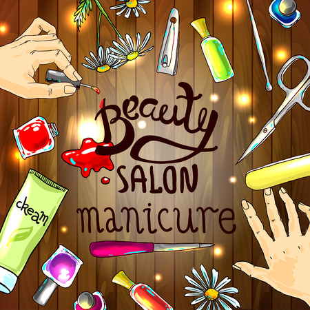 varnish: Beautiful hand drawn illustration manicure in beauty salon