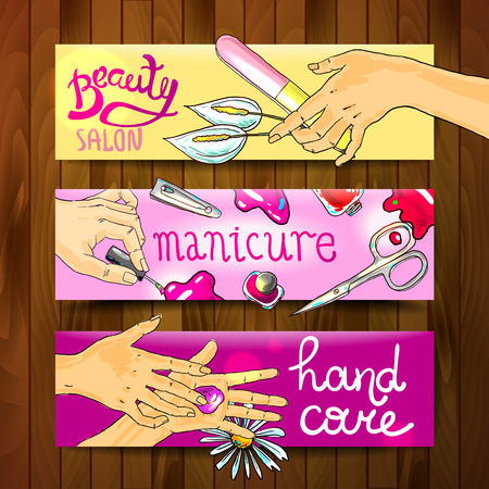 french manicure: Beautiful hand drawn banners manicure in beauty salon Illustration