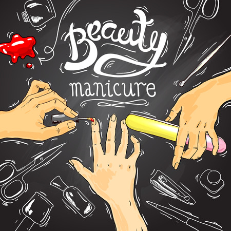french manicure: Beautiful hand drawn illustration manicure in beauty salon