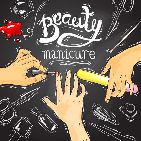 Hermosa dibujado a mano ilustraci�n manicura en un sal�n de belleza