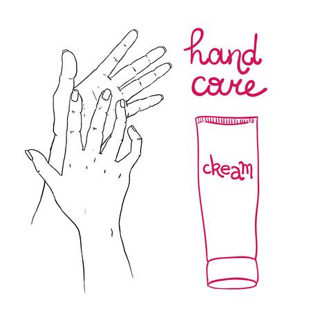 soins mains: Belle illustration main dessin�e pour votre conception soins des mains