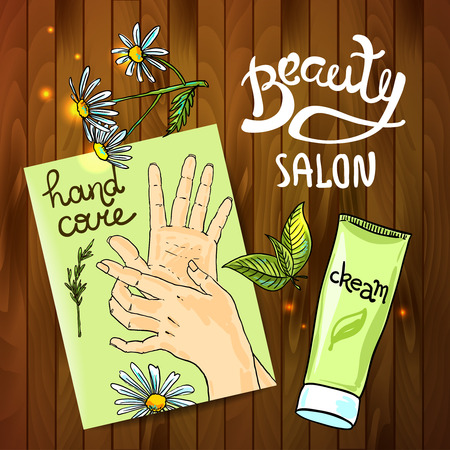 hand care: Beautiful hand drawn illustration for your design  hand care
