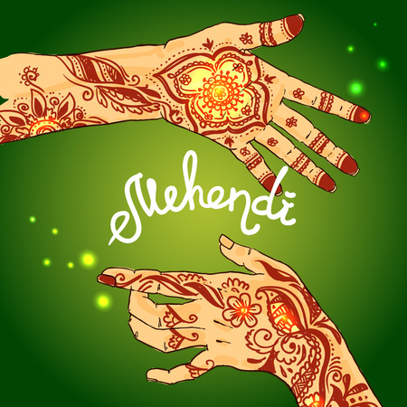 ashram: Beautiful hand drawn illustration mehendi on womens hands