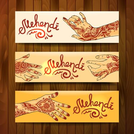Beautiful hand drawn banners mehendi on womens hands