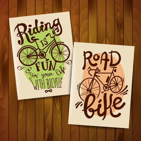 flayers: Retro flayers biking as a lifestyle. Hand drawn lettering. Illustration