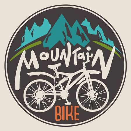 logotipo turismo: Retro bicicleta etiqueta de monta�a. Dibuja letras de la mano.