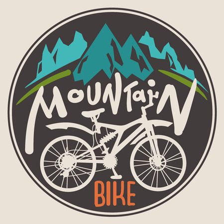 Retro label mountain bike. Hand drawn lettering.