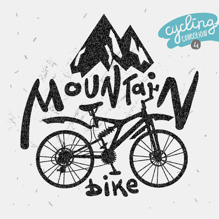 bicicleta retro: Retro bicicleta etiqueta de monta�a. Dibuja letras de la mano.