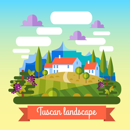 tuscany landscape: Flat vector landscape Tuscany and wine elements.